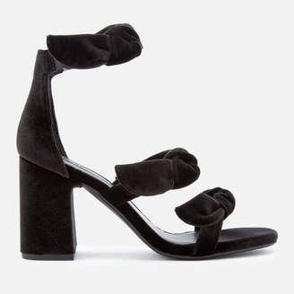 Senso Women's Melvy IV Velvet Triple Strap Heeled Sandals - Ebony