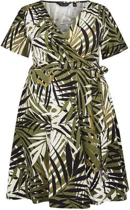 Dorothy Perkins Womens **Dp Curve Khaki Leaf Print Wrap Dress