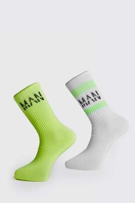 boohoo 2PK Neon Man Ribbed Socks