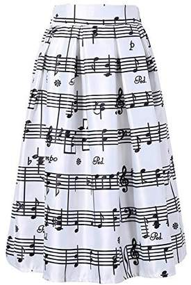 Dasbayla Women Elegant Piano Music Note Melody Printed High Waist Flared Skirt Party Dress