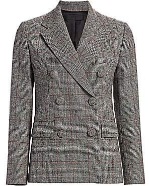 Helmut Lang Women's Prince of Wales Check Virgin-Wool Double-Breasted Blazer