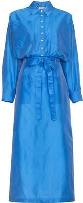 ATTICO Silk Button Down Shirt Dress