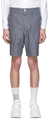 Thom Browne Navy Striped Cargo Shorts