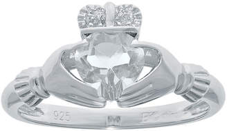 JCPenney FINE JEWELRY Heart-Shaped Genuine White Topaz and Diamond-Accent Sterling Silver Claddagh Ring