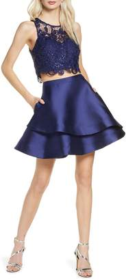 Sequin Hearts Sequin Lace & Mikado Two-Piece Party Dress