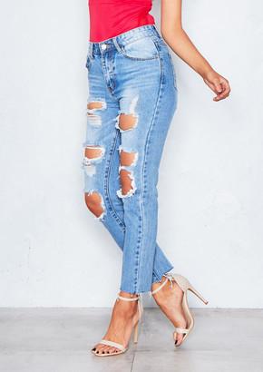 a6a61c63ab404 Missy Empire Missyempire Shannen Denim Light Wash Distressed Mom Jeans