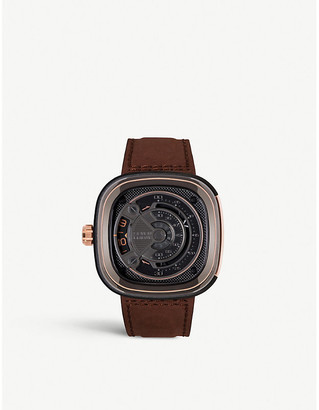 Rosegold Seven Friday M2B/0 rose-gold PVD-coated stainless steel and leather strap watch