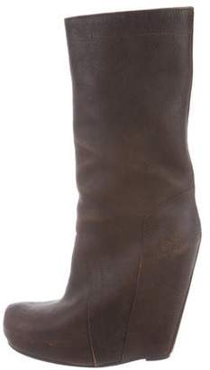 Rick Owens Leather Knee-High Wedge Boots