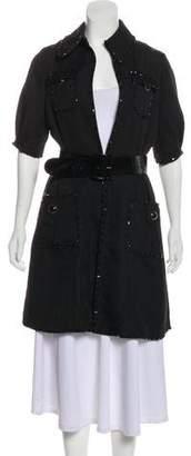 Blumarine Embellished Belted Coat
