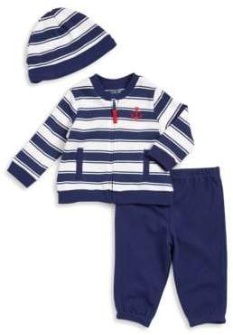 Little Me Baby's Three-Piece Stripe Jacket, Pants, and Beanie Set