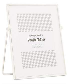 David Jones Easel 4 x 6 Shiny Silver Metal Photo Frame