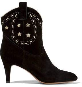 Marc Jacobs Georgia Leather-Trimmed Suede Ankle Boots