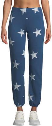 Monrow Star-Print Elastic-Waist Sweatpants
