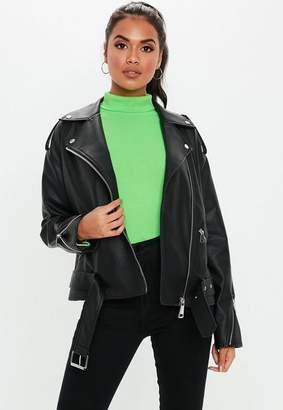 Missguided Black Boyfriend Biker Jacket