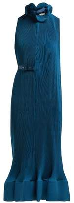 Tibi Belted Plisse Midi Dress - Womens - Blue