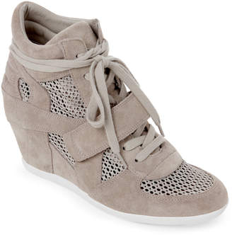 Ash Dove Grey Bowie Suede & Mesh Wedge Sneakers