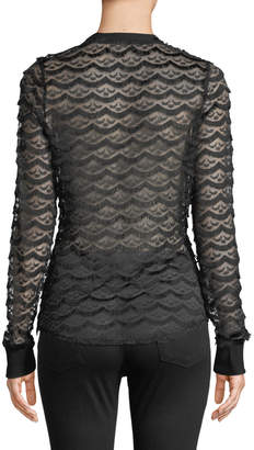 Allison New York Eyelash Lace Long-Sleeve Pullover Top