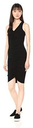 Michael Stars Women's Cotton Lycra Sleeveless v-Neck Dress Ruching