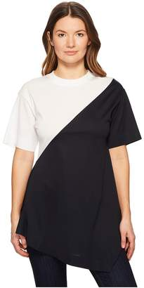 Sportmax Gavino Short Sleeve Asymmetrical Mixed Top
