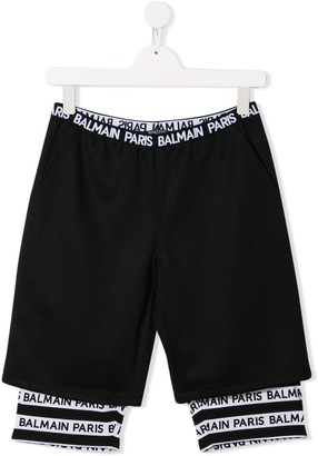 Balmain Kids TEEN double-layer shorts