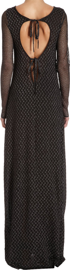 Missoni Metallic Detailed Open Knit Sleeve Tie Back Gown