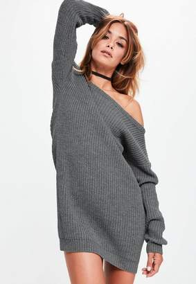 Missguided Gray off Shoulder Knit Sweater Dress