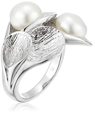 Bella Pearl Fancy Brushed Silver Pearl Ring