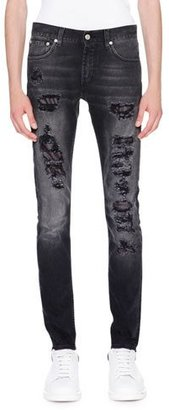 Alexander McQueen Contrast-Underlay Destroyed Skinny Jeans, Black $635 thestylecure.com