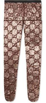 Gucci Sequin tights with GG embroidery