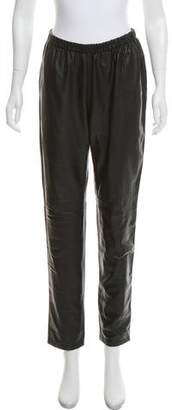 Neiman Marcus Mid-Rise Leather Jogger
