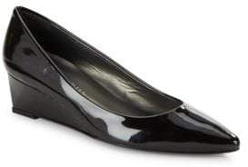 Stuart Weitzman Nuevo Saffiano Patent Leather Wedge Pumps
