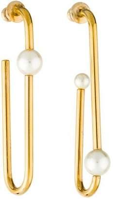 Christian Dior Mail Asymmetrical Faux Pearl Drop Earrings