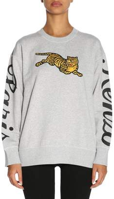 Kenzo Sweatshirt Sweatshirt With Round Neck In Cotton With Maxi Patch Tiger And Prints
