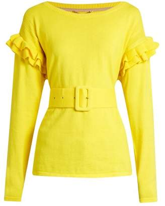 Muveil Ruffle Trimmed Cotton And Wool Blend Sweater - Womens - Yellow