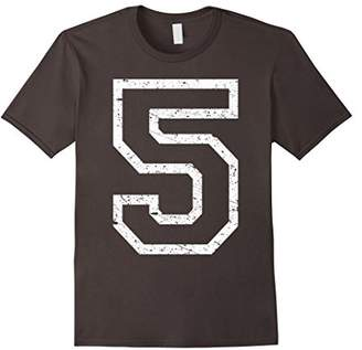 Huge Number 5 Five - Distressed Collegiate Style - T Shirt