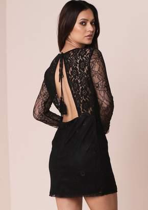 b25f27eeb7b at Missy Empire · Missy Empire Missyempire Claira Black Lace Panel Backless Bodycon  Dress