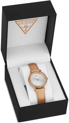GUESS Women's Rose Gold-Tone Leather Strap Watch 30mm, Created for Macy's