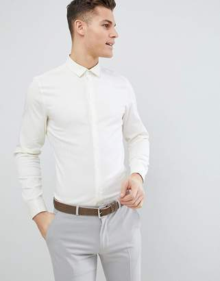 Asos Design DESIGN Wedding Slim Herringbone Shirt With Double Cuff In Pale Yellow