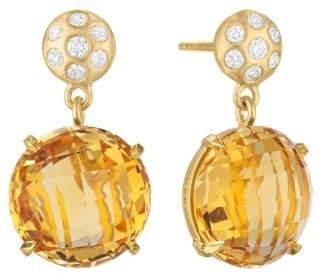 Orange Citrine and Diamond Post Drop Earrings