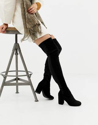 Asos DESIGN Wide Leg Kadi heeled thigh high boots