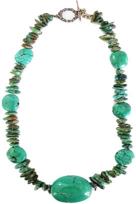 Brass Fusion Chinese Turquoise Nugget Necklace