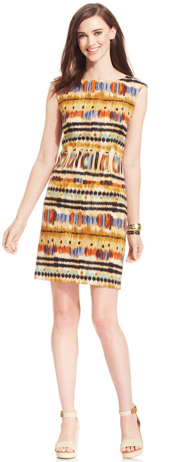 Tahari by Arthur S. Levine Tahari by ASL Tribal-Print Linen-Blend Sheath