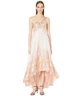 Marchesa Draped One Shoulder Metallic Tea-Length Gown