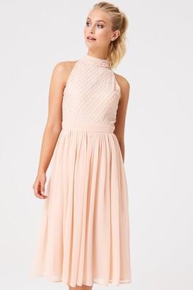 8c97c783 Little Mistress Luxury Charli Nude Hand Embellished Midi Dress