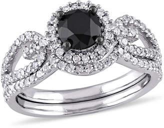 Black Diamond MODERN BRIDE Midnight 1 1/2 CT. T.W. Color-Enhanced Black & White Diamond 10K White Gold Bridal Set