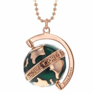 True Rocks Small Spinning Globe Necklace Rose Gold & Green Enamel