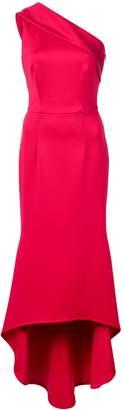 Black Halo asymmetric off-shoulder dress