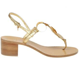 Tory Burch Flip Patos Disk Leather Color Gold