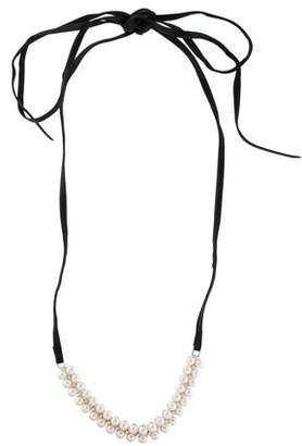 Fallon Monarch Faux Pearl Leather Wrap Choker