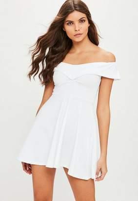 Missguided White Wrap Bardot Skater Dress